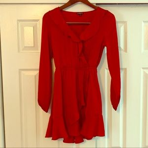 Express Red Long Sleeved Ruffle Dress Size Small